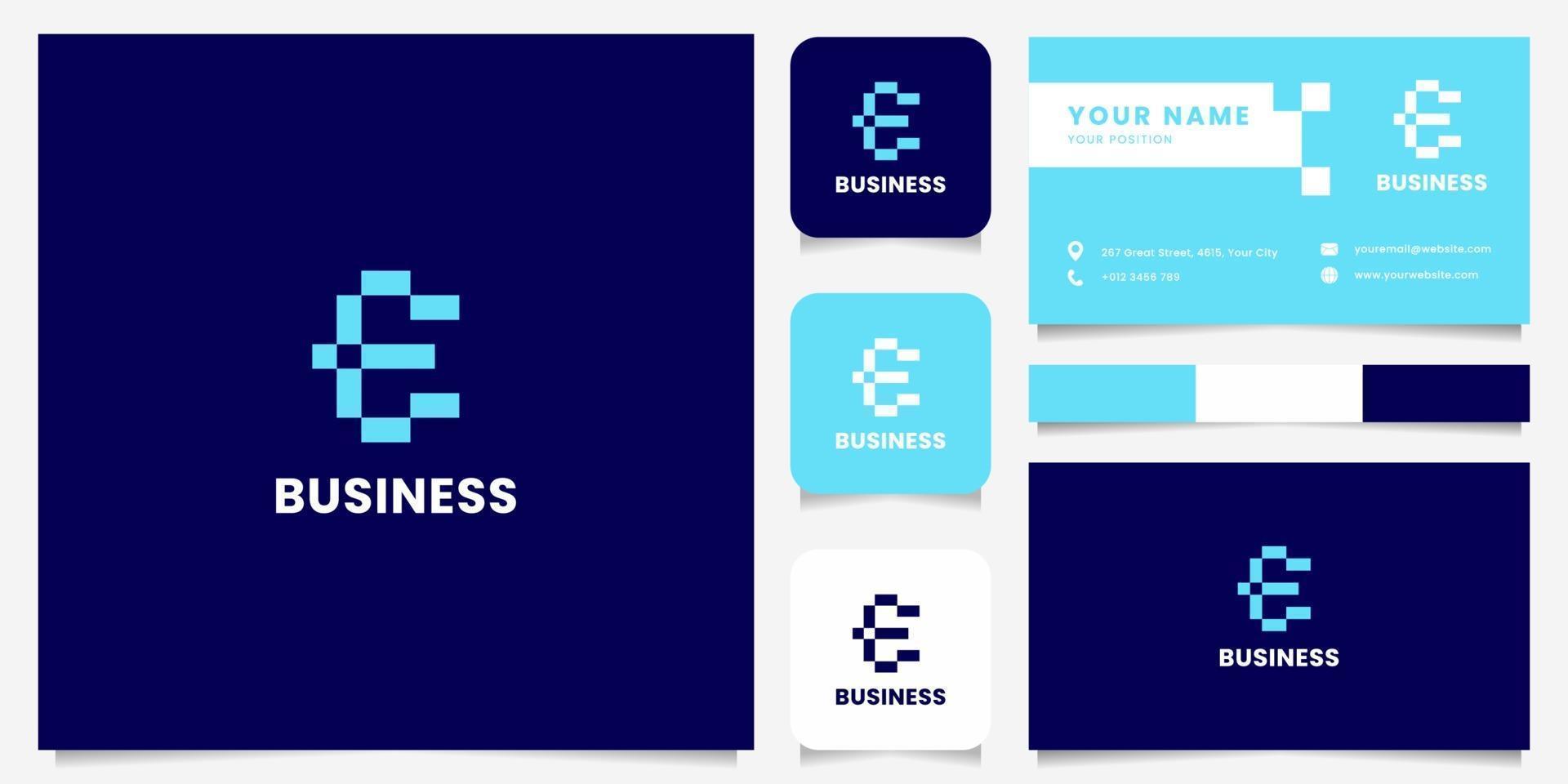 einfaches und minimalistisches blaues Pixelbuchstaben-E-Logo mit Visitenkartenschablone vektor