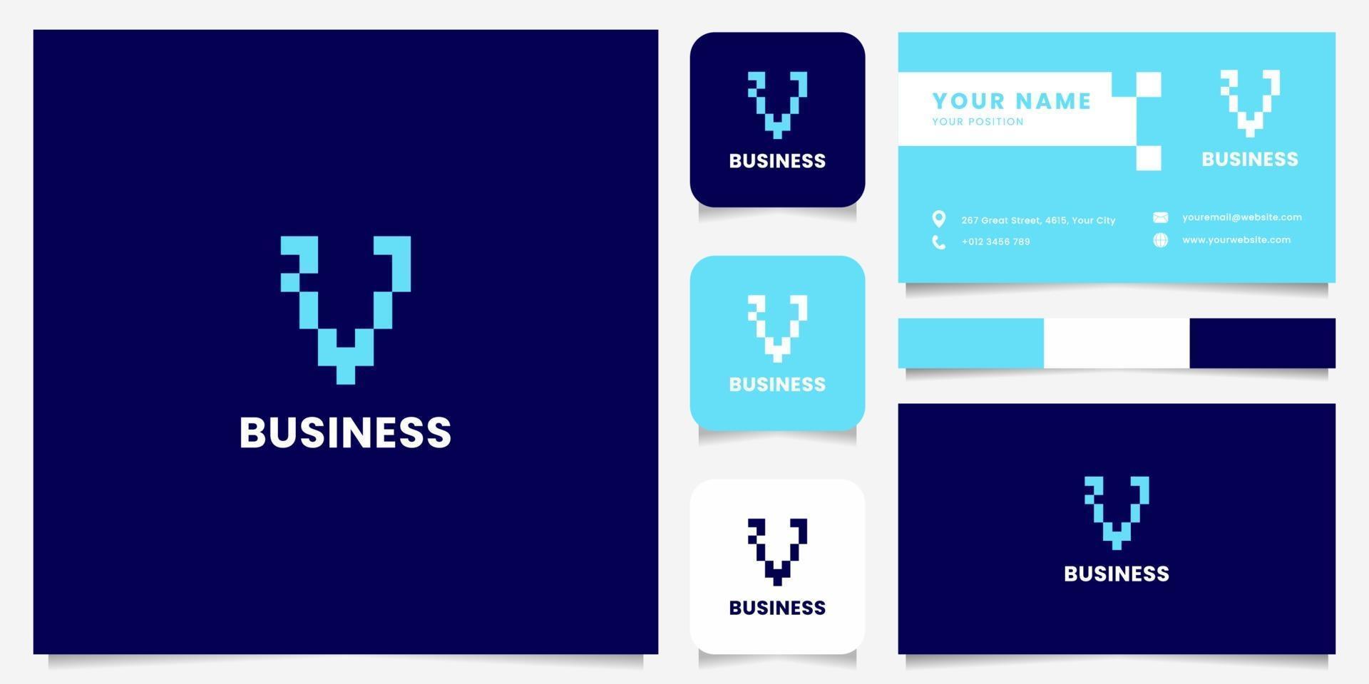 enkel och minimalistisk blå pixel bokstav v-logotyp med visitkortsmall vektor