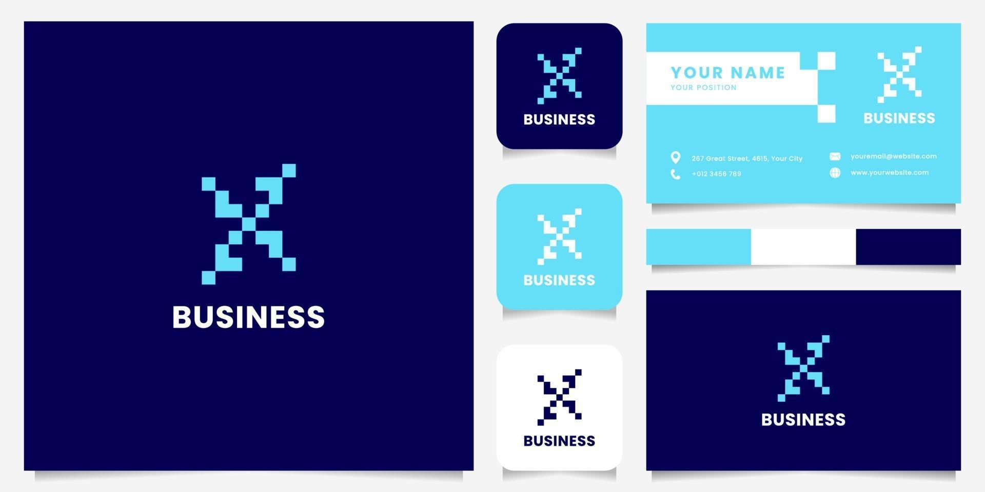 einfaches und minimalistisches blaues Pixelbuchstaben-x-Logo mit Visitenkartenschablone vektor