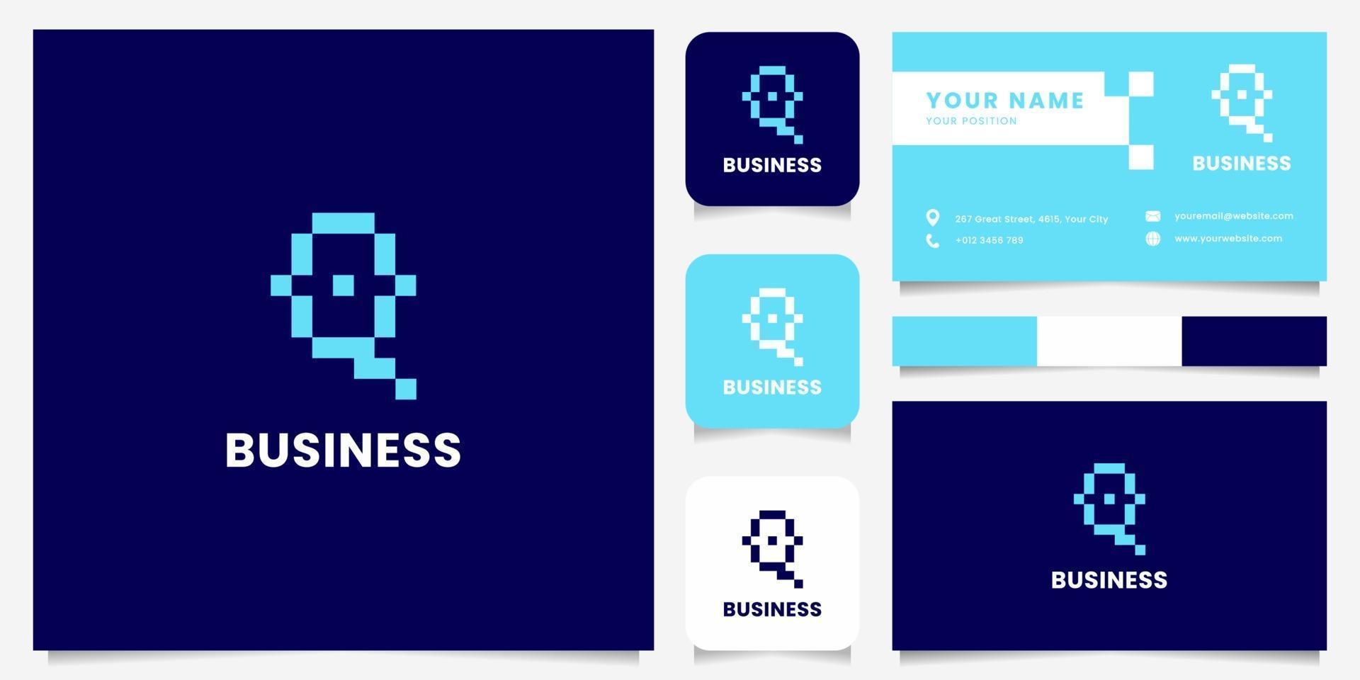 einfaches und minimalistisches blaues Pixelbuchstaben-Q-Logo mit Visitenkartenschablone vektor