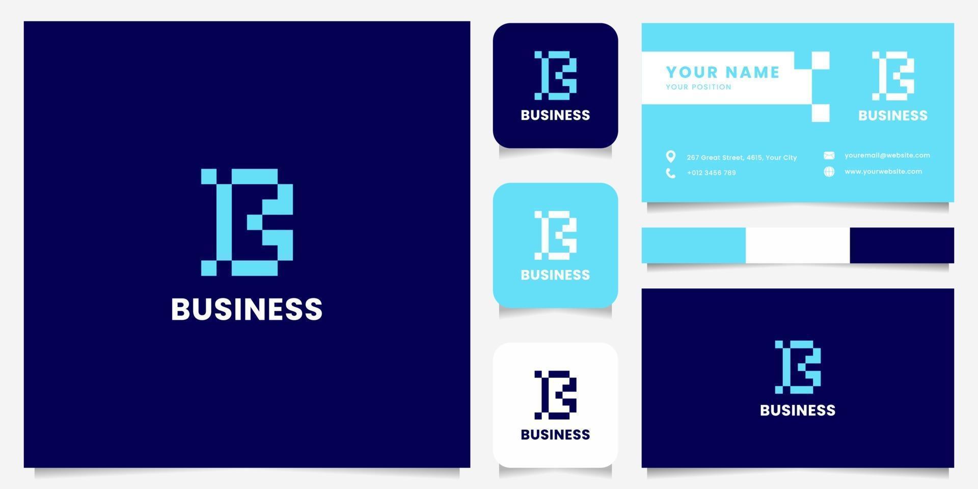 einfaches und minimalistisches blaues Pixelbuchstaben-B-Logo mit Visitenkartenschablone vektor