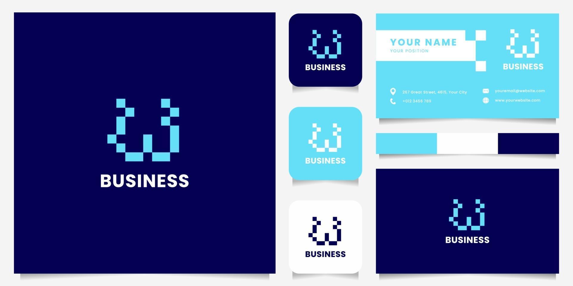einfaches und minimalistisches blaues Pixelbuchstaben-W-Logo mit Visitenkartenschablone vektor