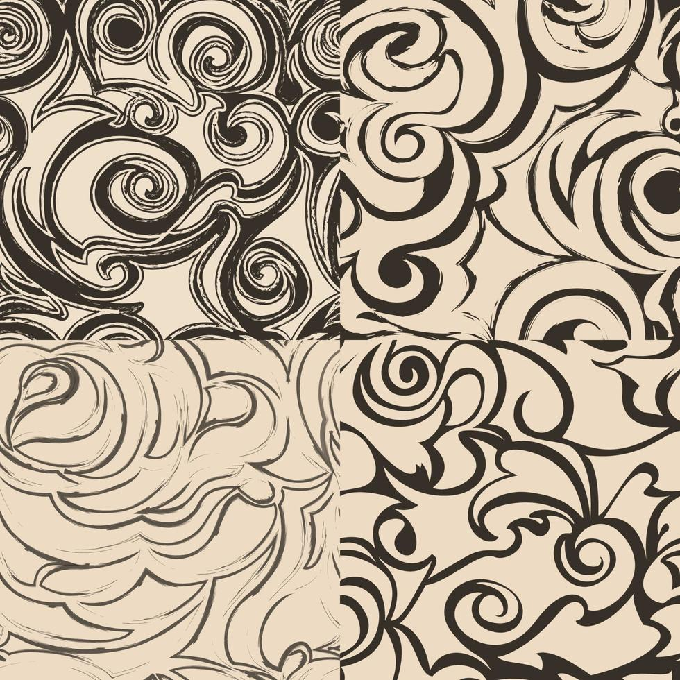 Satz nahtlose abstrakte Muster in beige Farben. vektor