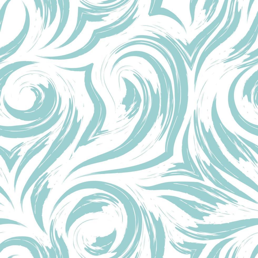 nahtlose Vektortextur eines Wirbels von Wellen oder Strömen der türkisfarbenen Pastellfarbe lokalisiert auf einem weißen Hintergrund. vektor