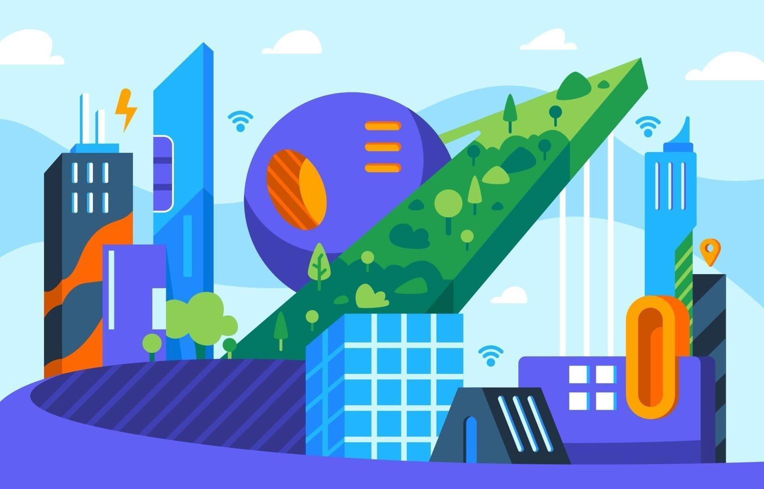 smart stadskoncept i platt design vektor