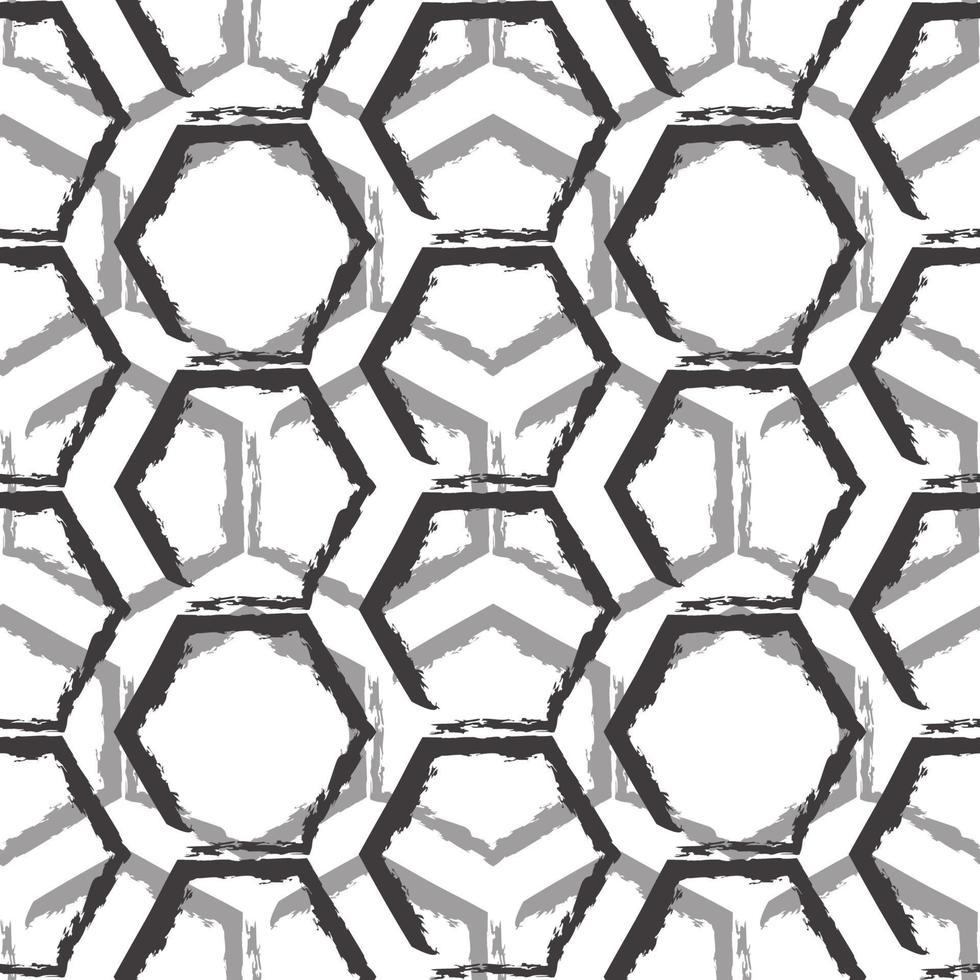 sömlös vektormönster av svarta och grå hexagoner isolerad på vit bakgrund. vektor