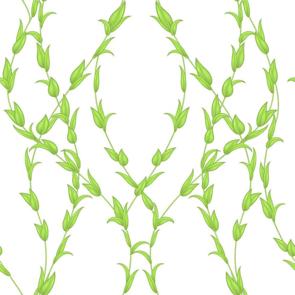vektor sömlösa mönster av stjälkar och blad av grön färg isolerad på en vit bakgrund.