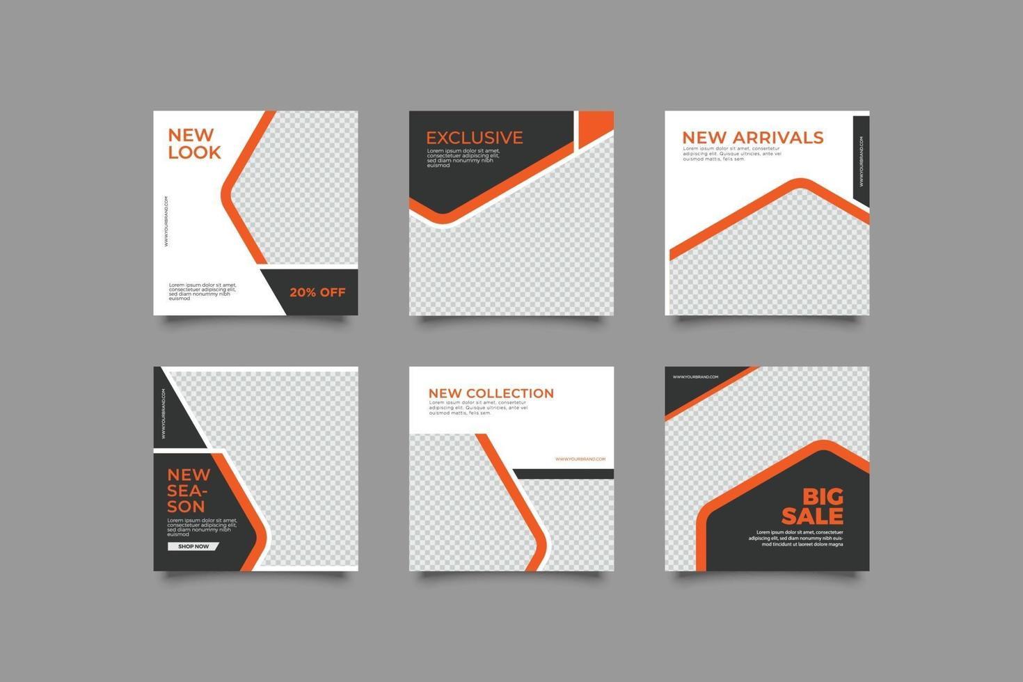 moderna affärer geometriska abstrakt instagram post mallar vektor