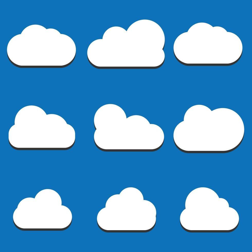 uppsättning moln ikoner i trendig platt stil isolerad på blå bakgrund. molnsymbol för din webbplatsdesign, logotyp, app, ui. vektor