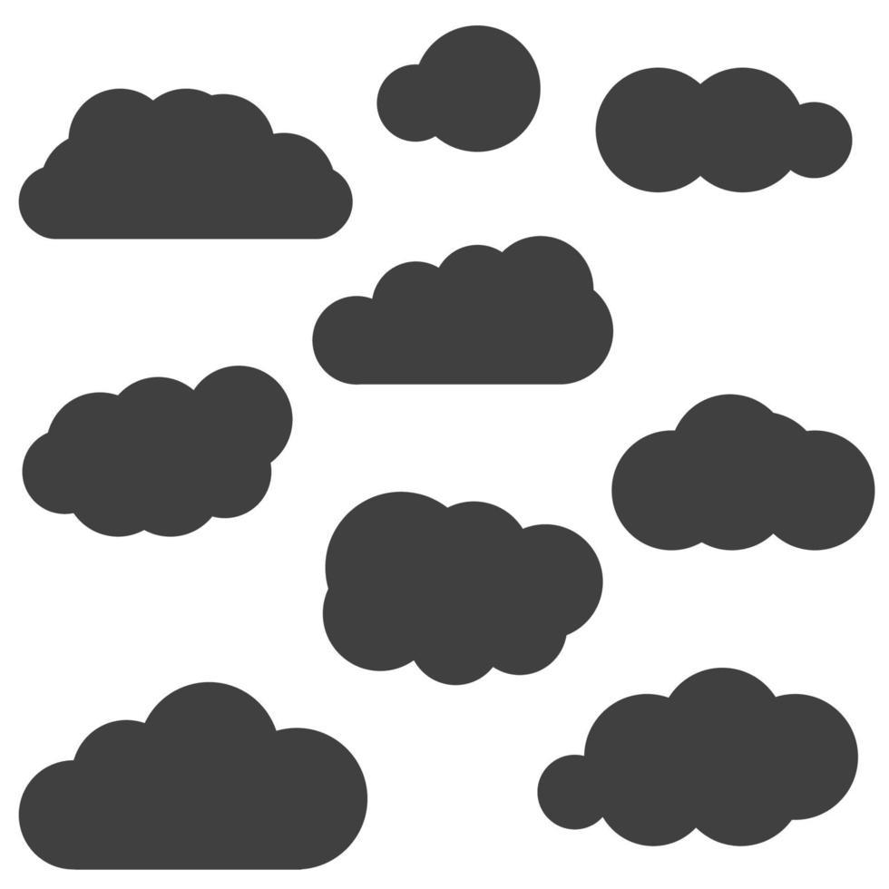 uppsättning svarta moln ikoner isolerad på vit bakgrund. molnsymboler för webbdesign. vektor