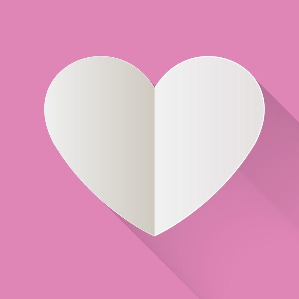rosa papper klippt hjärta, kärlek till alla hjärtans dag. vektor semester illustration.