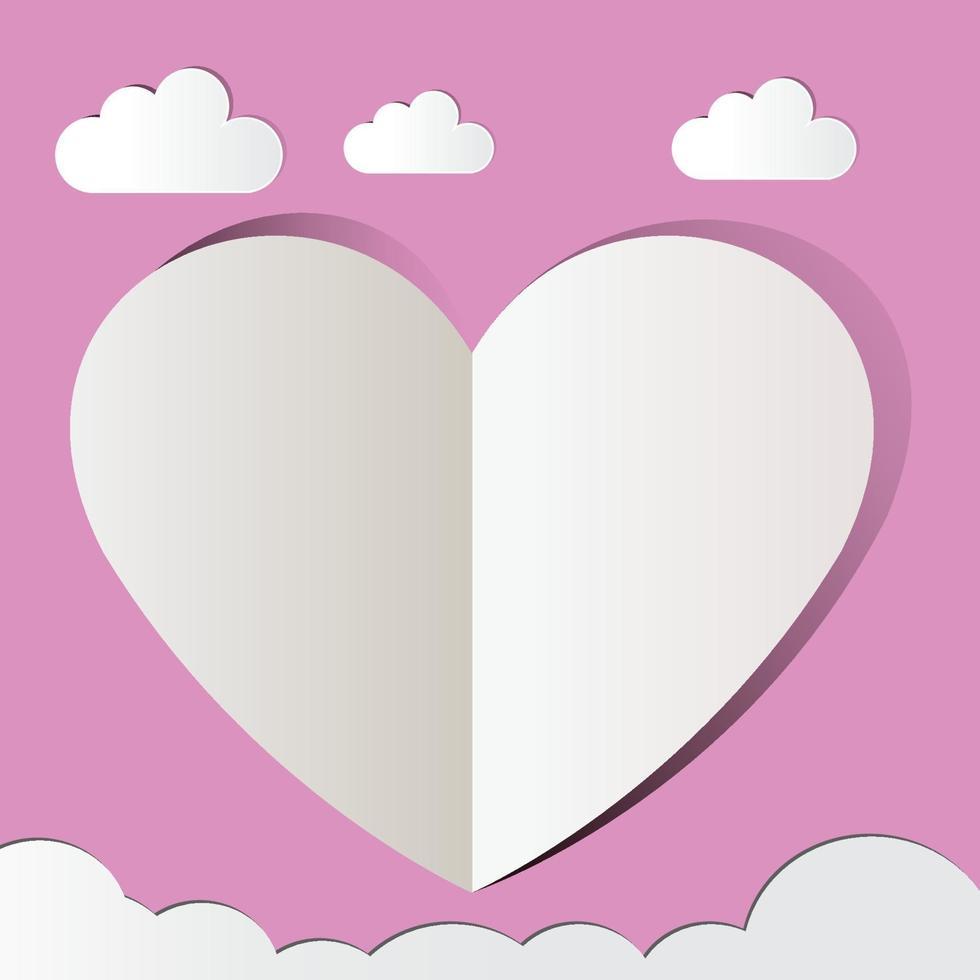 rosa papperssnitt, hjärta kärlek. vektor