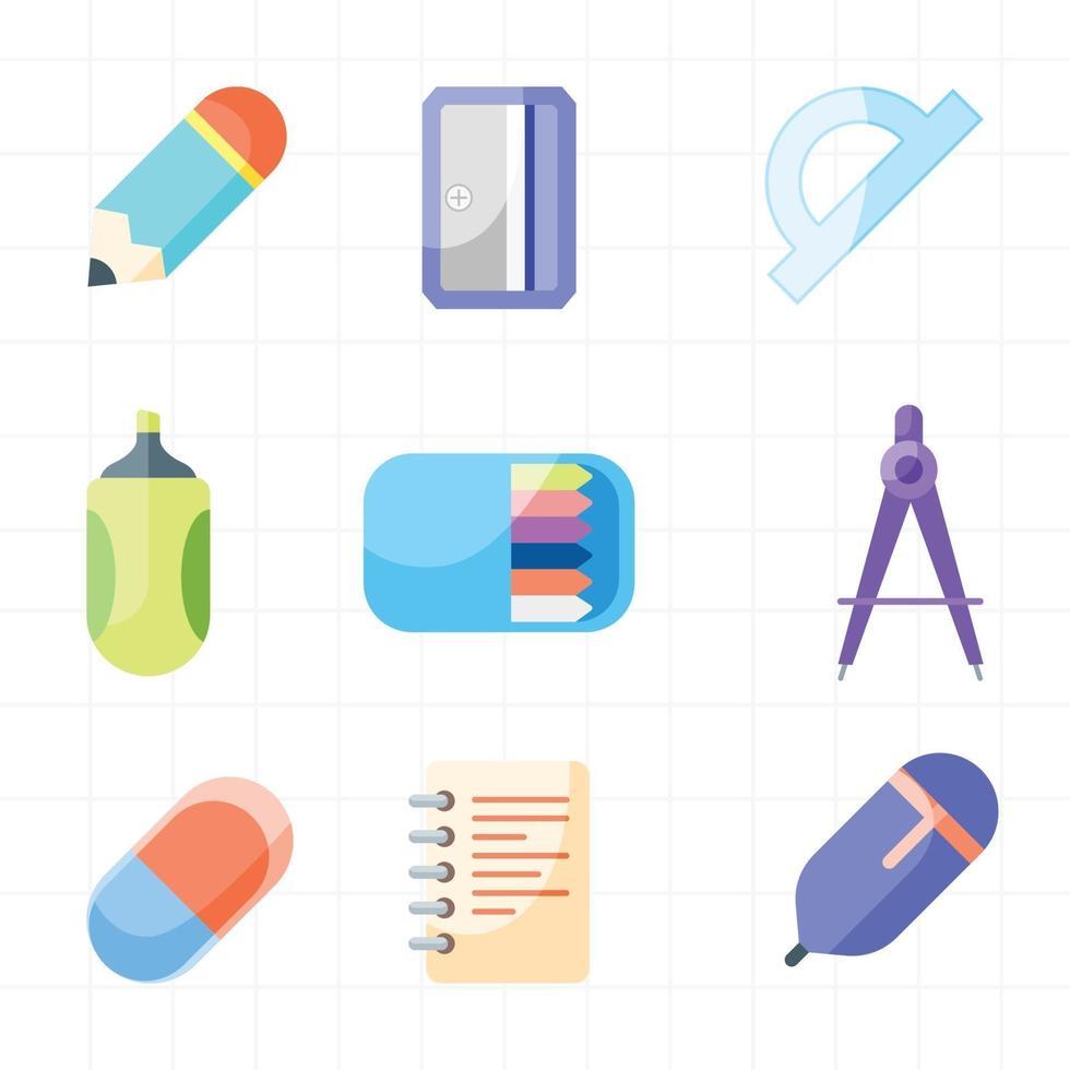 skola brevpapper ikonuppsättning vektor