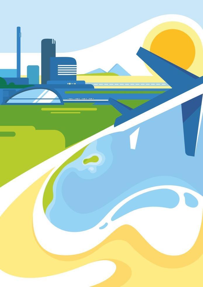 Plakatschablone mit Stadt, Küste und Flugzeug. vektor