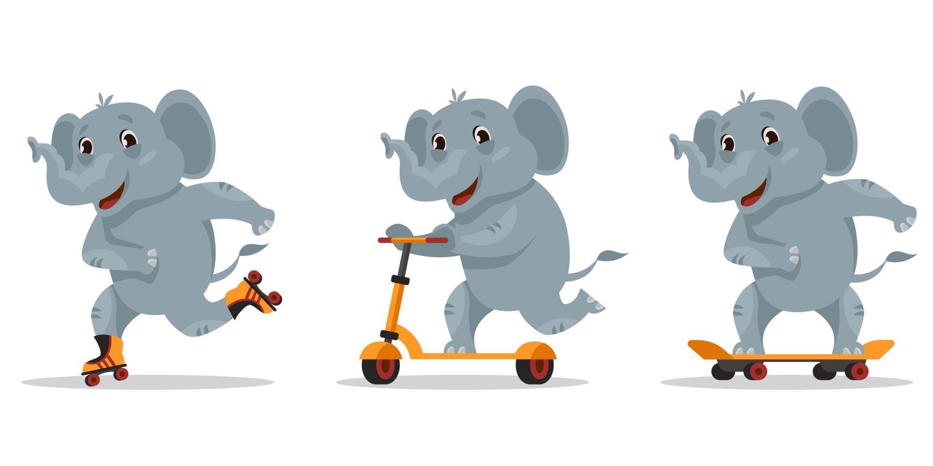 rolig tecknad elefant. djur ridning på skateboard, rullskridskor och skoter. vektor