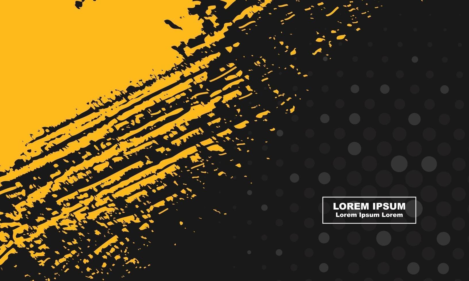 abstrakt bakgrund svart och gul grunge och halvton cirkel vektor