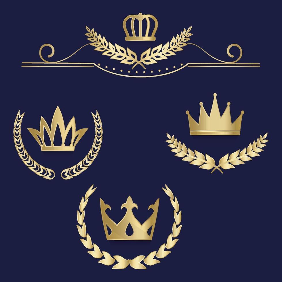 uppsättning lyxiga guldetiketter, emblem, medaljer, skylt med lagerkrans, krona för retro design av diplom, utmärkelse, logotyp, ikon. vektor