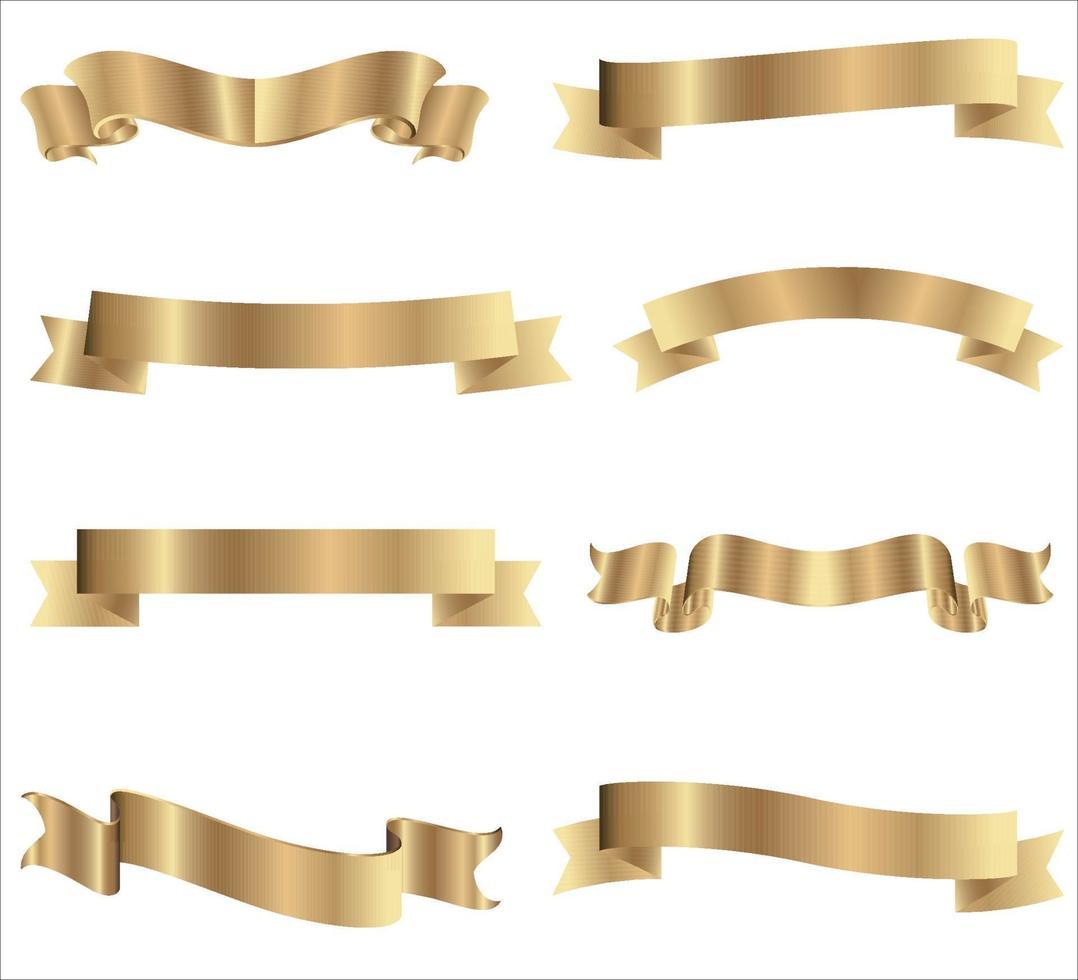 Sammlung goldener Bänder mit horizontalem gelbem Band lokalisiert auf weißem Hintergrund. Weihnachtsgeschenk Dekoration, glänzende Verkauf Bänder Sammlung. realistische Vektorillustration vektor