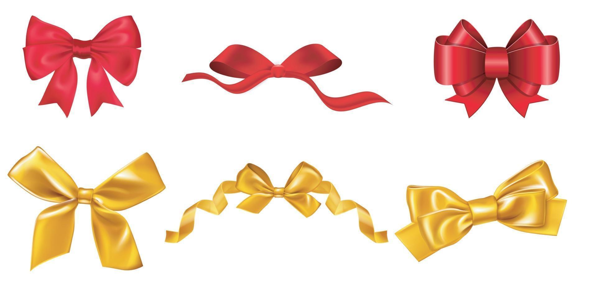 großes Set von roten und dicken Geschenkbögen mit Bändern. Vektorillustration vektor