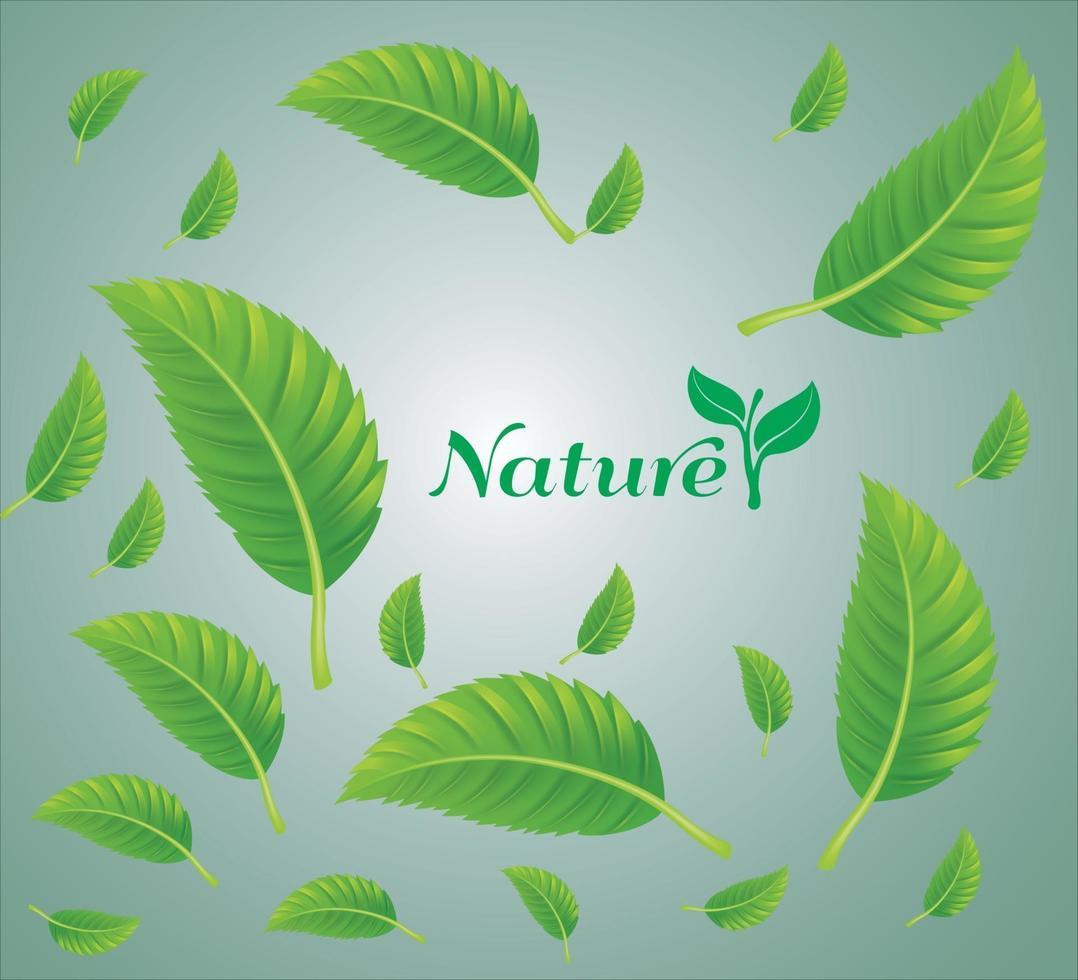 fallande gröna blad med isolerad bakgrund vektor