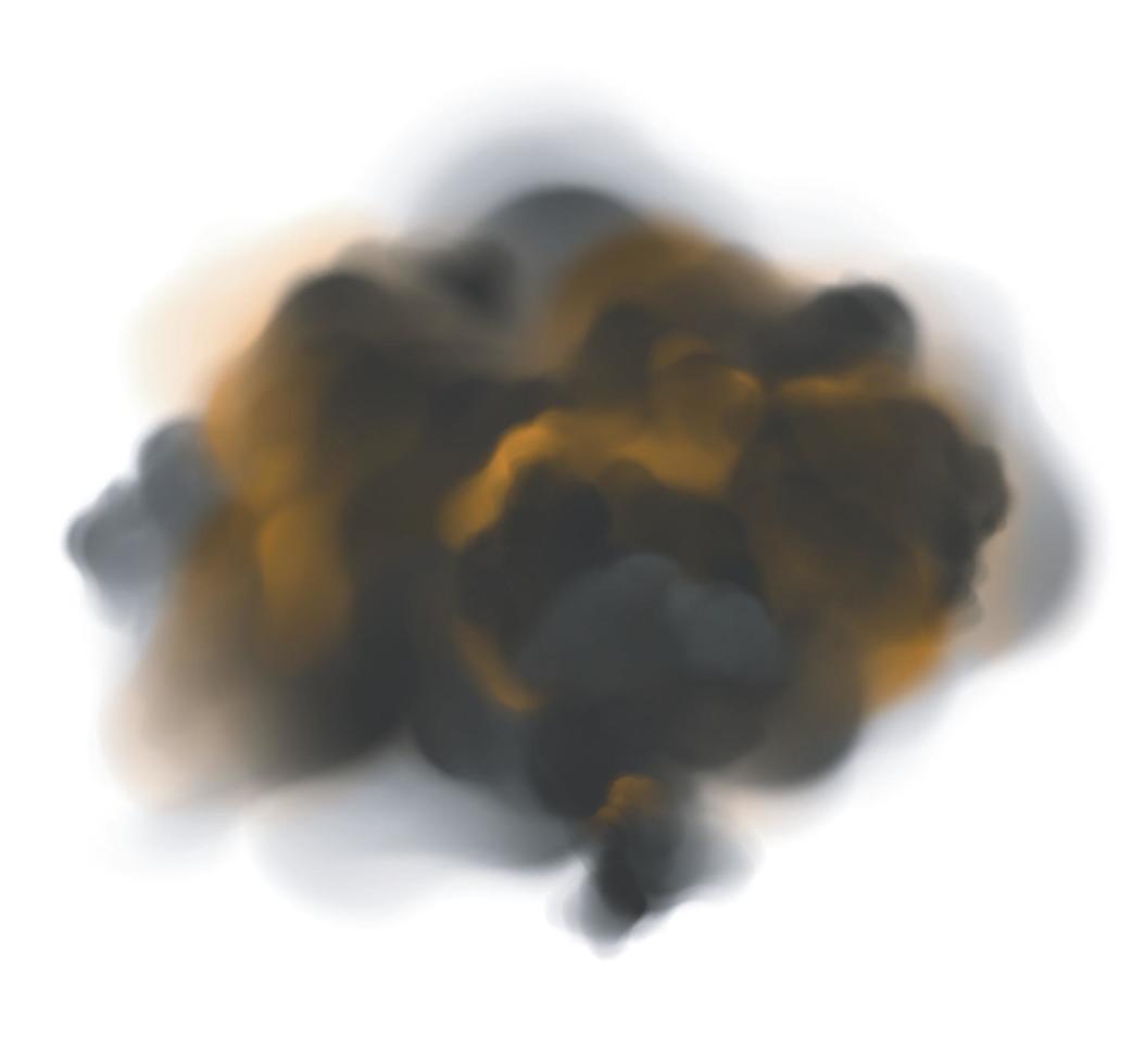 grumlig svart rök med orange bakgrundsbelysning från eld vektor