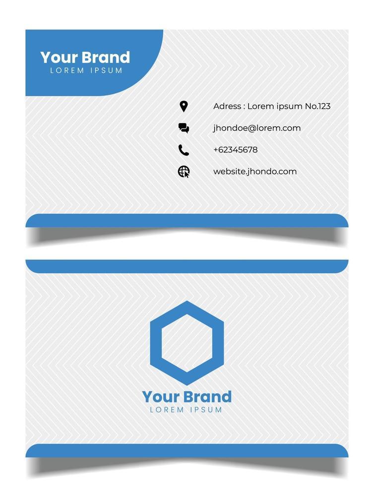professionell visitkortsvektormall, blått och vitt visitkort vektor