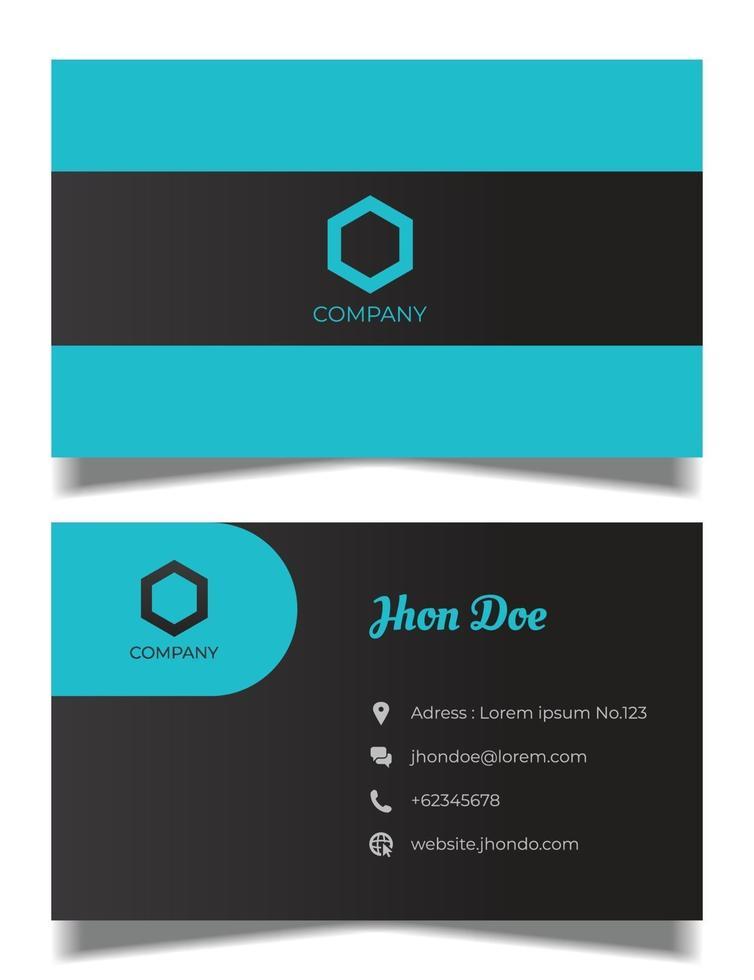 professionell visitkortsvektormall, blått och svart visitkort vektor