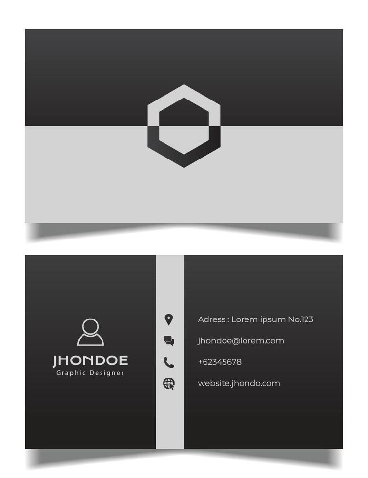 professionelle Visitenkartenvektorschablone, graue und schwarze Visitenkarte vektor