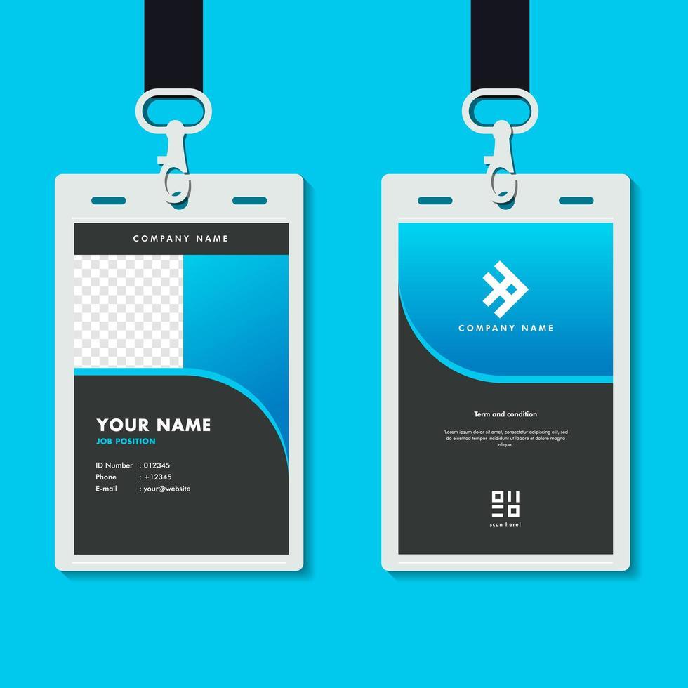 professionell företags id-kortmall, elegant mörkblå id-kortdesign med realistisk mockup vektor