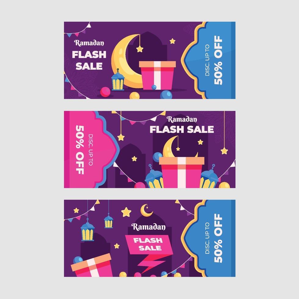 ramadan kareem försäljning banner set vektor