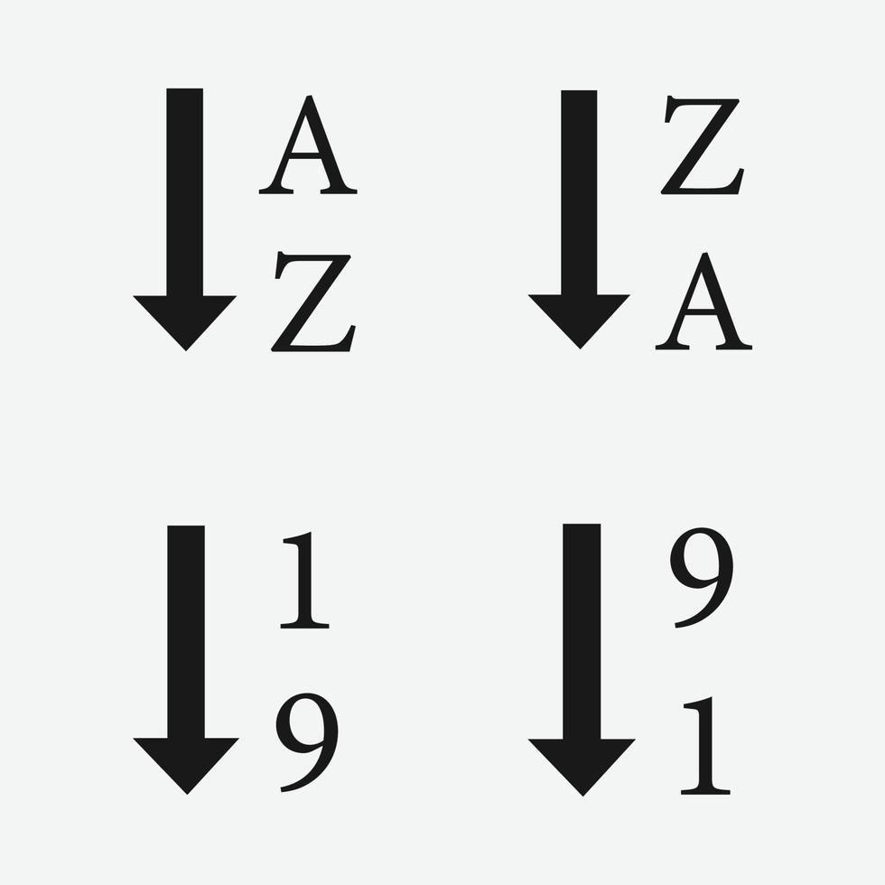 Sortieren nach alphabetischem und numerischem Vektorsymbolsymbol vektor