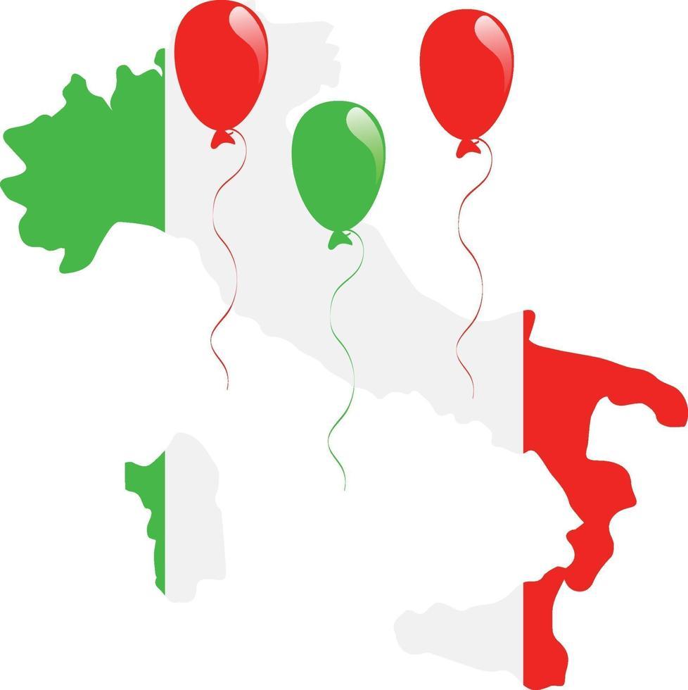 Italien karta flagga vektor