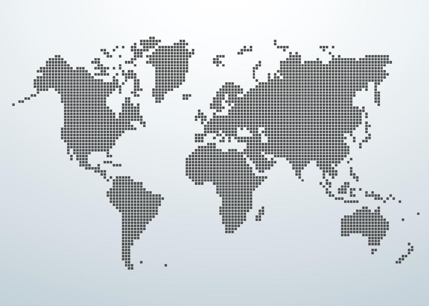 världskarta över fyrkantigt koncept. vektor illustration