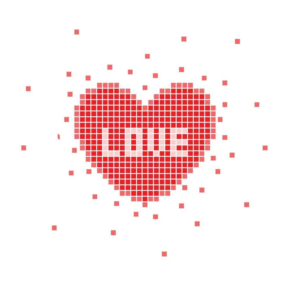 Pixelherz mit Liebeswort. Vektorillustration vektor