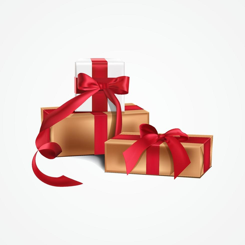 dekorative Geschenkbox weiß und gold mit roter Schleife und langem Vektorband. vektor