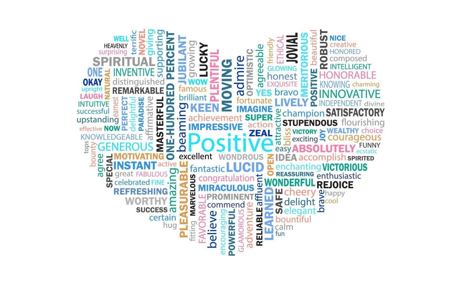 das Herzstück positiv denkender Worte für Kommunikation und Bestätigung. vektor