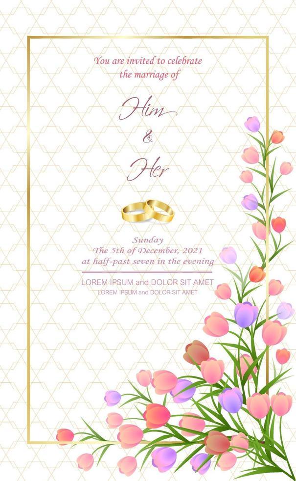 bröllopskort med blommatulpan söt affisch. vektor