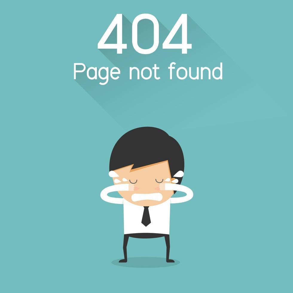 404 Fehlerseite nicht gefunden. Geschäftsmann weinendes Konzept. Vektorillustration vektor
