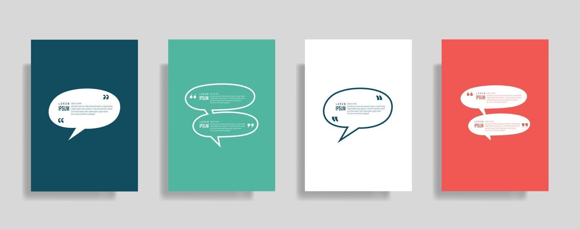 Anführungszeichen Rahmen leere Vorlagen gesetzt, Text in Klammern, Zitat leere Sprechblasen. Text bos isoliert auf Farbhintergrund. vektor