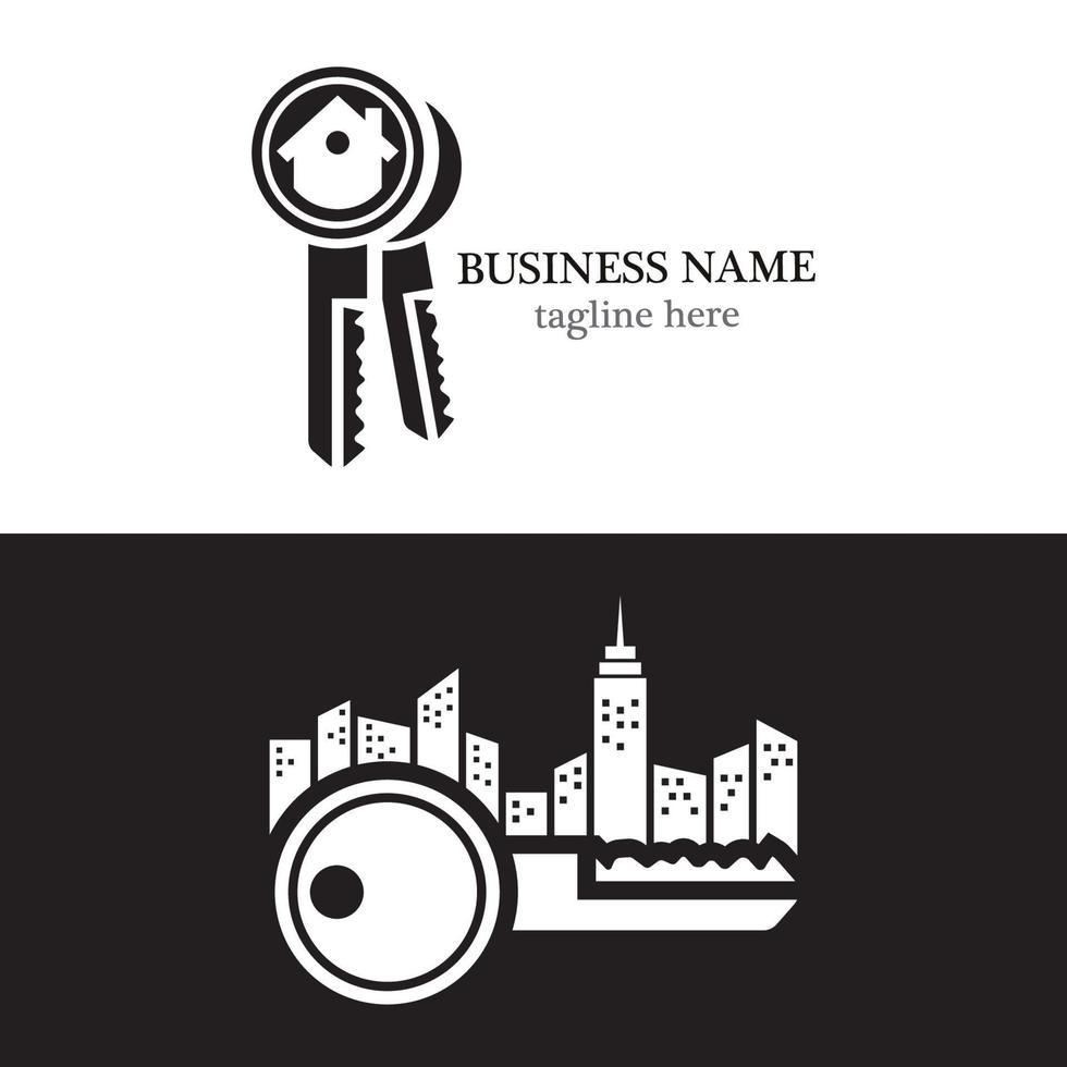 husbyggnad nycklar logo design vektor
