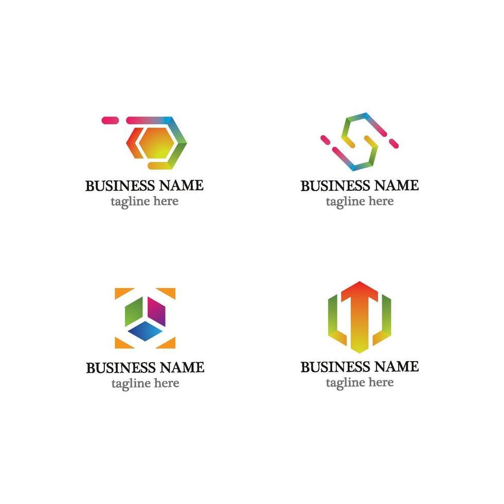 kreativa hexagon logotyp ikonuppsättning vektor