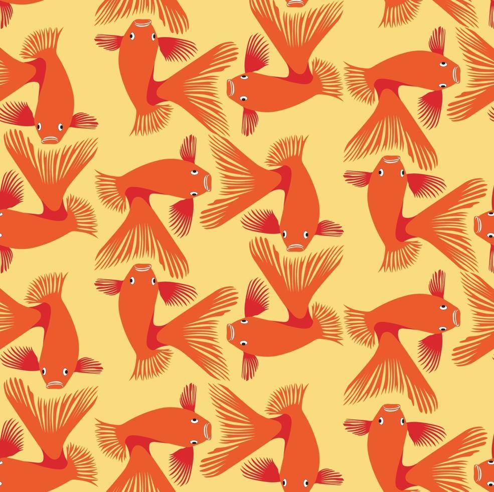 fisk sömlösa mönster. gyllene fisk under vattnet, marin dekorativ texturerad bakgrund. vektor