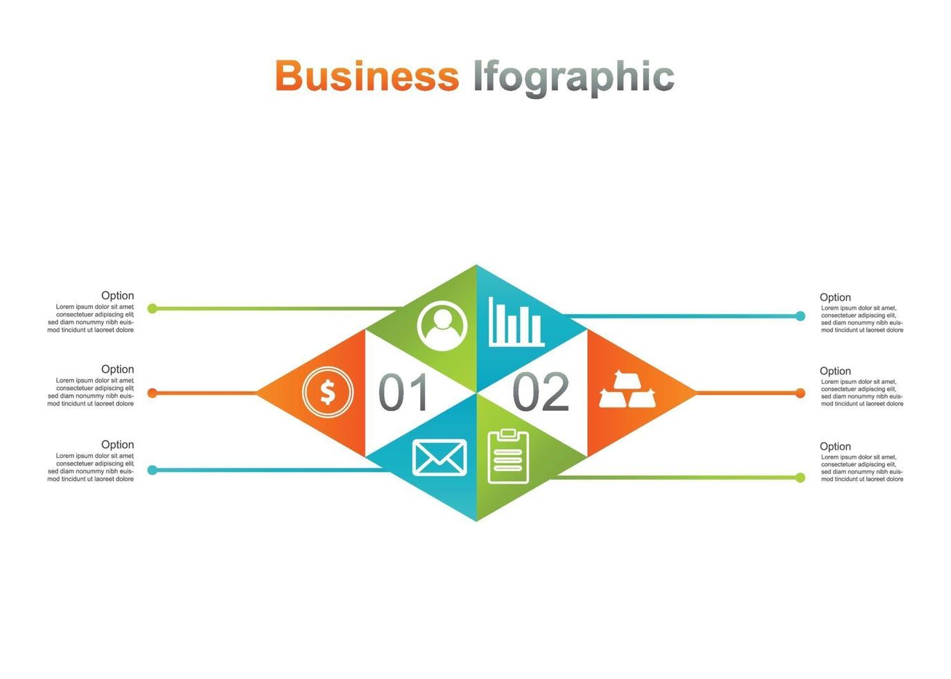 Business Infograpic Design Vorlage. 6 Option Infografik Vektor-Illustration. Perfekt für Marketing, Werbung und Präsentationsdesign vektor