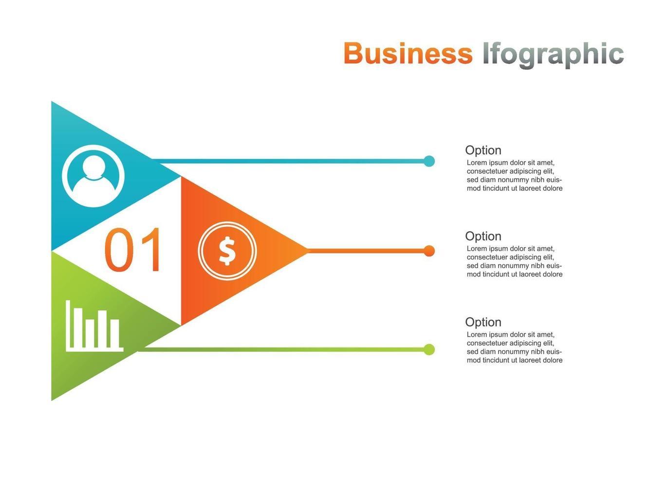 Business Infograpic Design Vorlage. Infografik-Vektorillustration mit 3 Optionen. Perfekt für Marketing, Werbung und Präsentationsdesign vektor