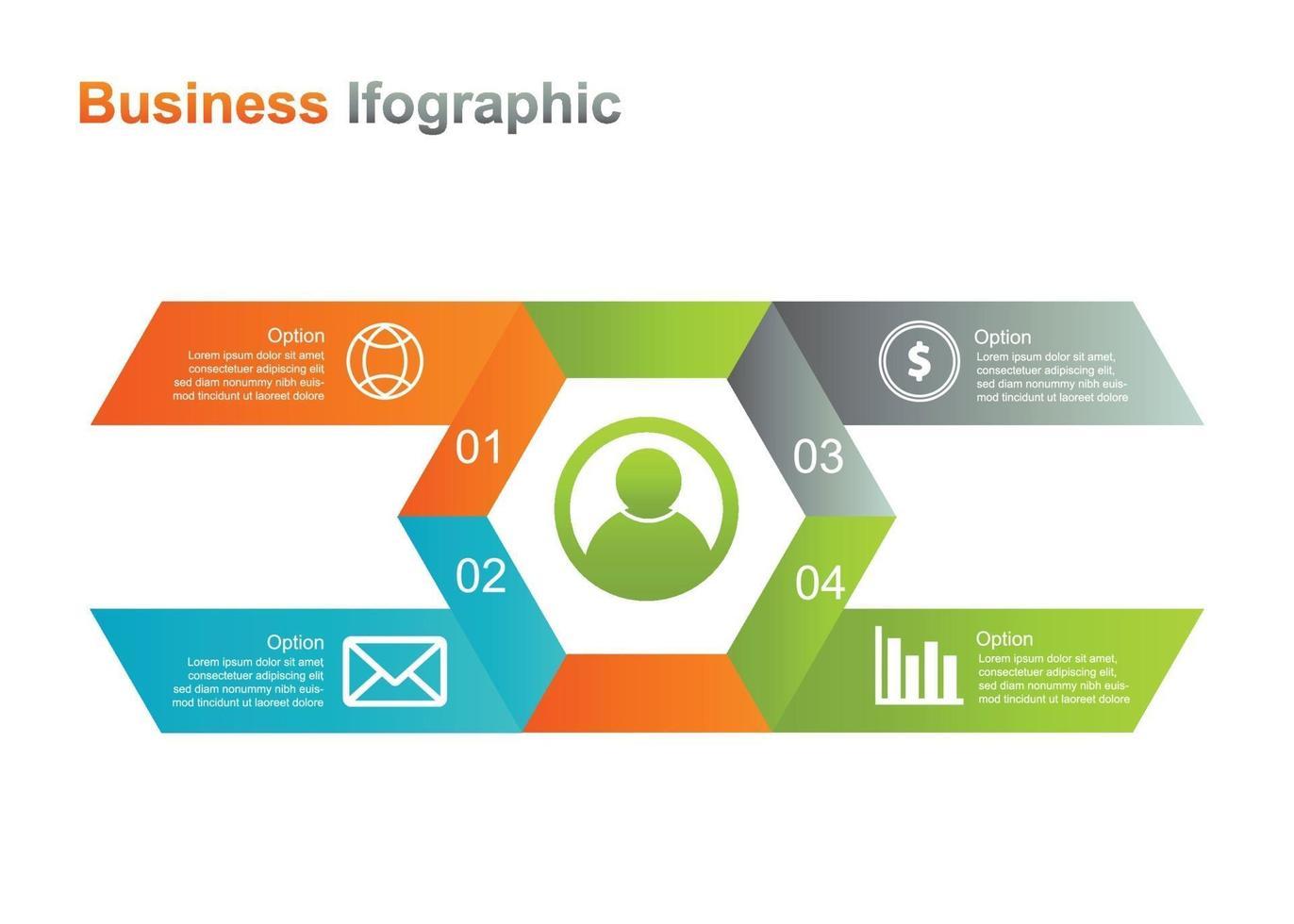 Business Infograpic Design Vorlage. 4 Option Infografik Vektor-Illustration. Perfekt für Marketing, Werbung und Präsentationsdesign vektor