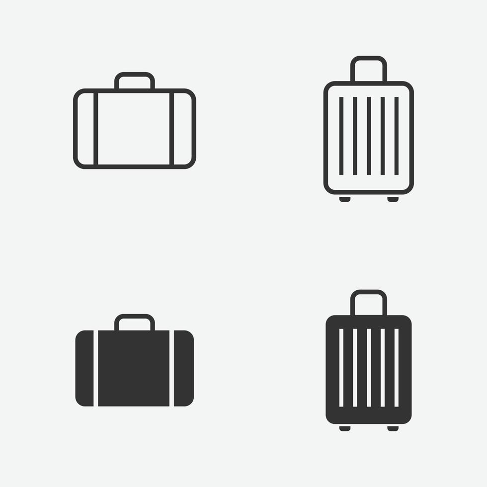 bagage ikoner set. vektor illustration av resväska för webben