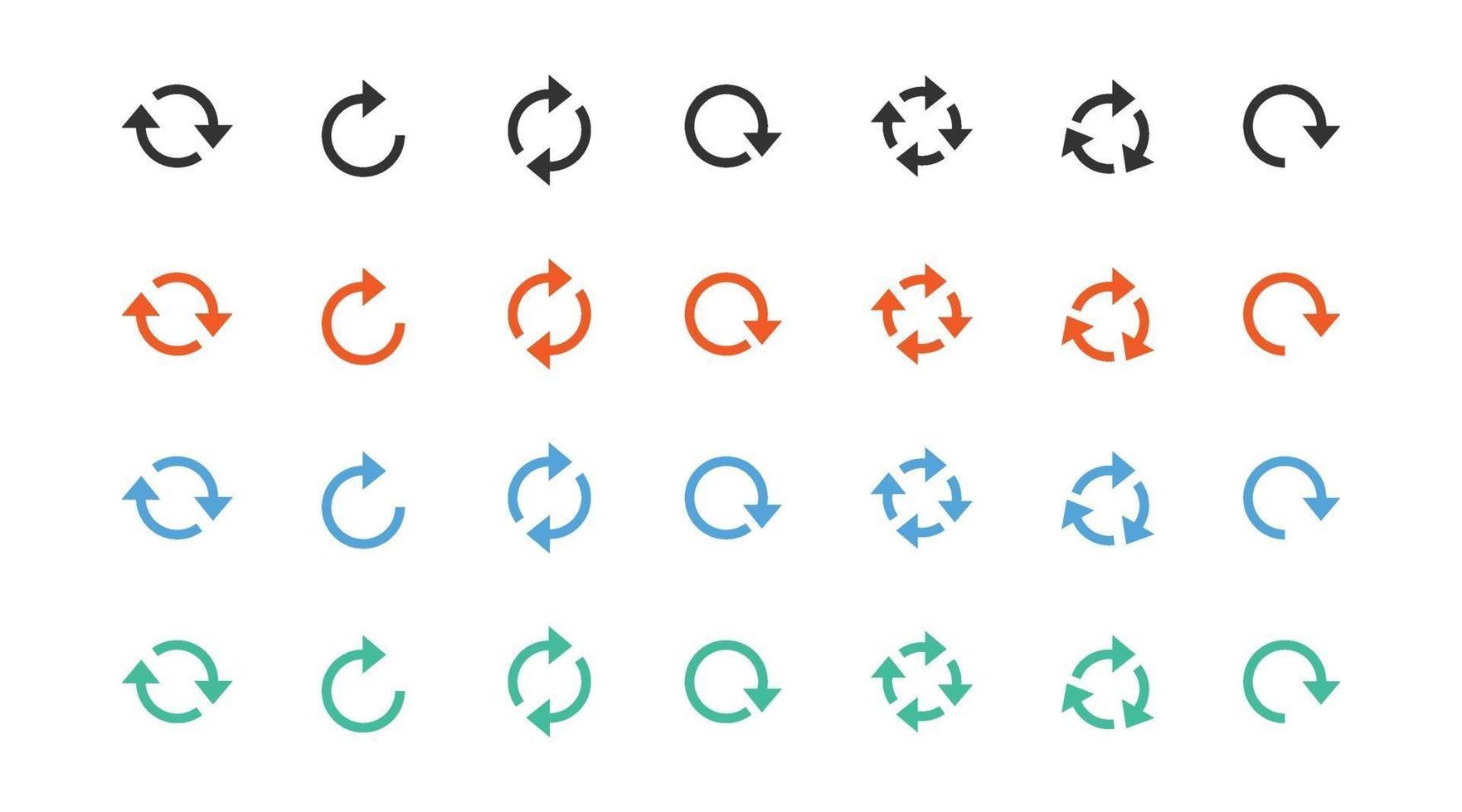 uppsättning av olika pil tecken ikon vektor