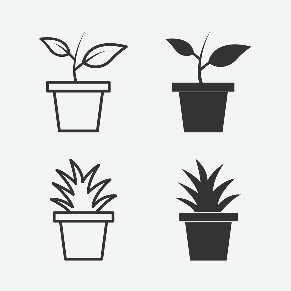 vektor illustration av kruka med växt isolerad ikonuppsättning
