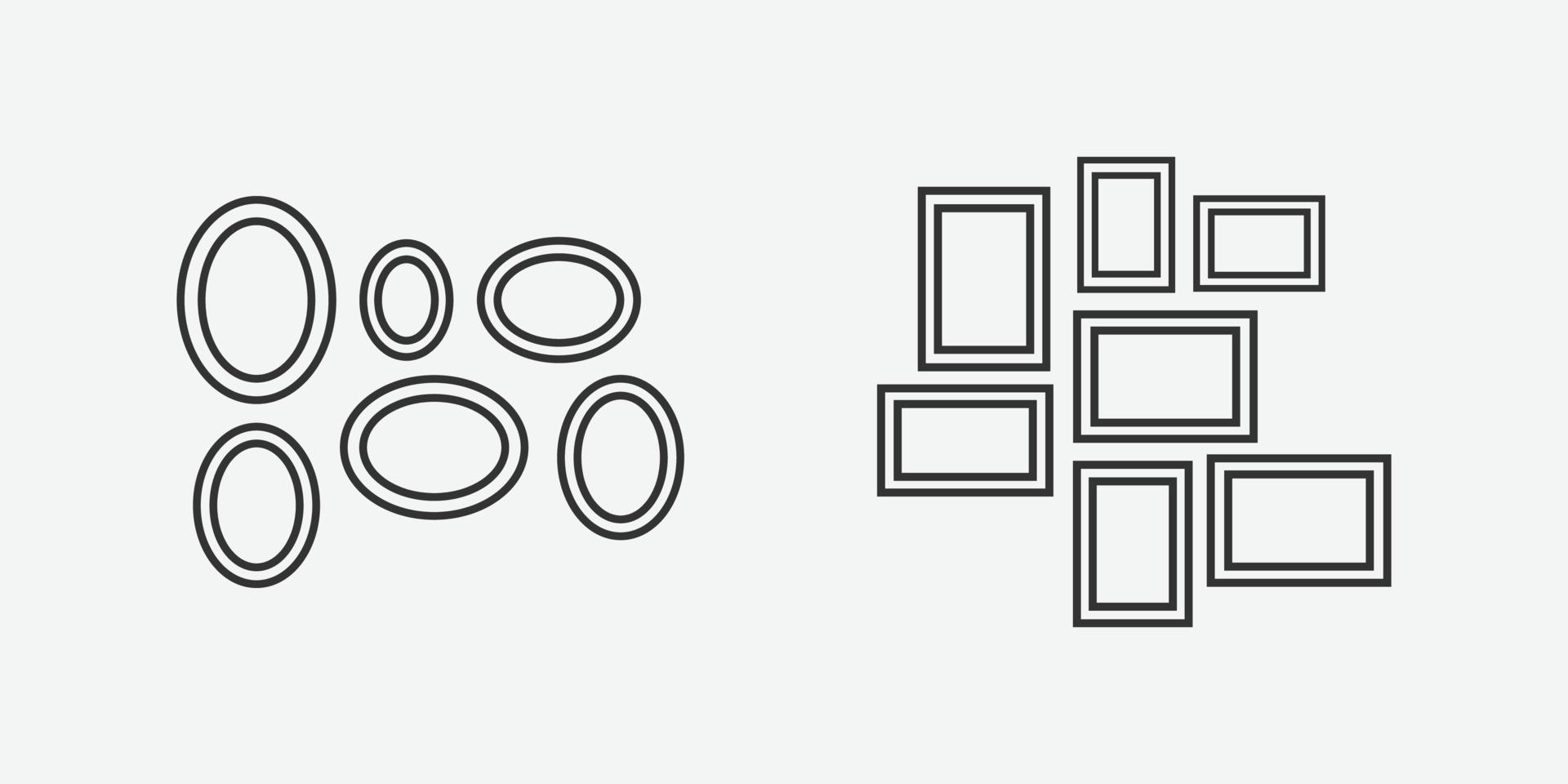 Vektorillustration von Bilderrahmensymbolen. vektor