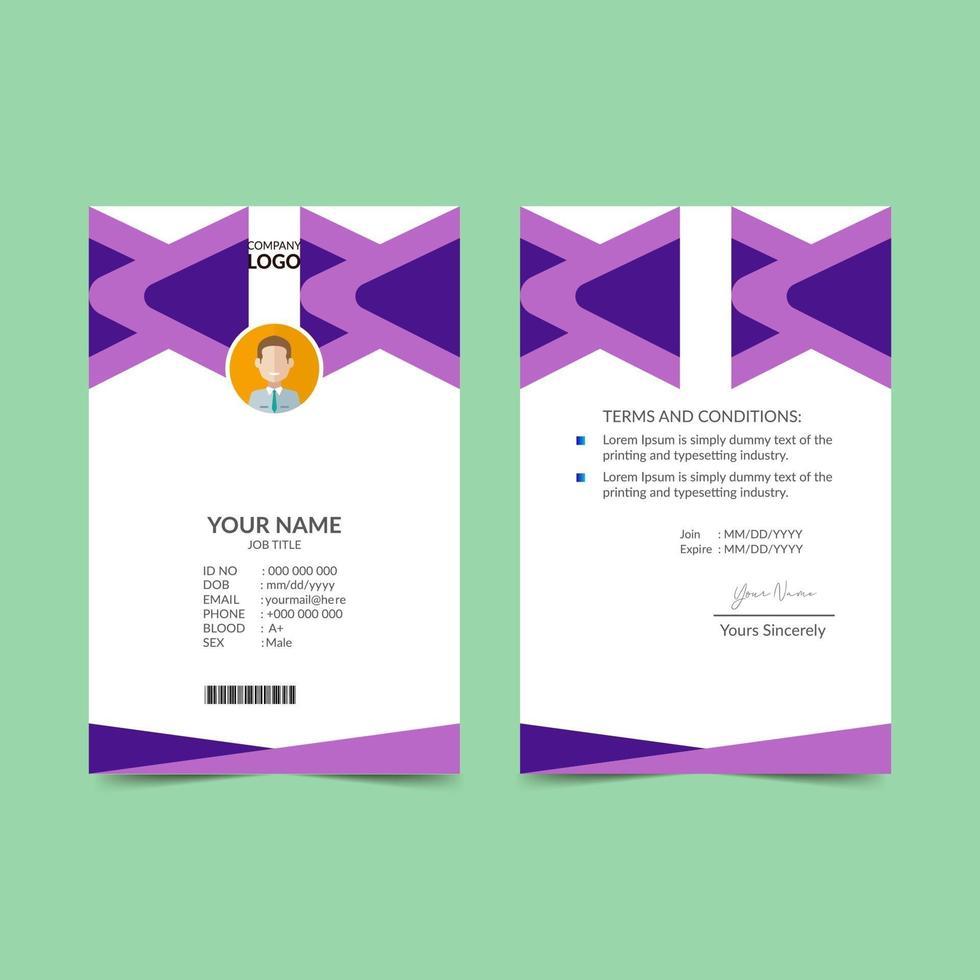 lila elegante ID-Karte Design-Vorlage vektor